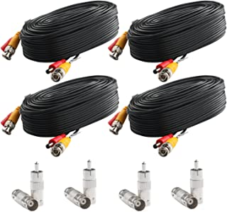 Postta BNC Video Power Cable (4 Pack 30 Feet) Pre-Made All-in-One Video Security Camera Cable Wire with Eight Connectors for CCTV DVR Surveillance System