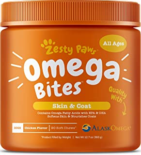 Zesty Paws Omega Bites Soft Chews - with AlaskOmega for EPA & DHA Omega-3 Fatty Acids to Support Normal Skin Moisture - An...