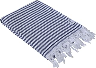 InfuseZen Turkish Towel - Thin and Absorbent Peshtemal Beach Bath Towels - 100% Cotton Oversized Hammam Fouta - XL 71 inches x 37 inches Lightweight Pool, Gym, Travel Towel, Terry Cloth Backing (Navy)