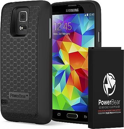 6bbed31bd28 PowerBear Batería Extendida Compatible para Samsung Galaxy S5 [7.800mAh],  Cubierta Trasera y