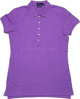 Womens Skinny Fit Stretch Mesh Short Sleeve Polo Shirt