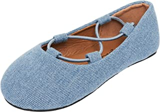 Susan 18 Toddler Dress Shoes Tie Up Comfortable Ballerina Flats Ballet Shoes for Toddlers
