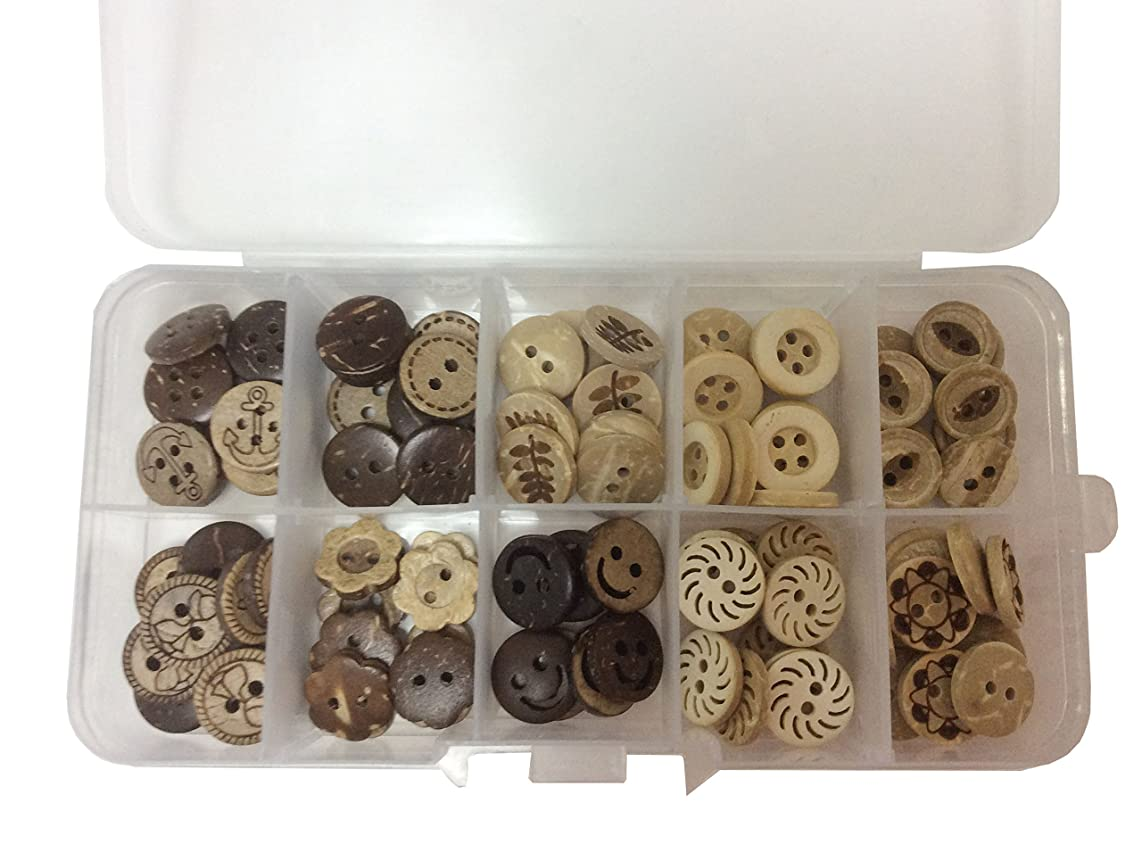 longshine-us 100pcs 13mm 10 Patterns 2 Hole Mixed Natural Cocount Buttons Round Sewing Craft Type Wood Buttons Accessories Sewing with Free Plastic Box for DIY Handmade Craft