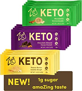 Zing Keto Low Carb Protein Bar | Keto Variety Pack, 12 Count | 3 Amazing Flavors | 7-9g Protein, 3g Net Carbs, 1g Sugar | ...