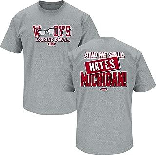 Ohio State Football Fans. Woody's Lookin' Down (Anti-Michigan) Grey T-Shirt (Sm-5X)