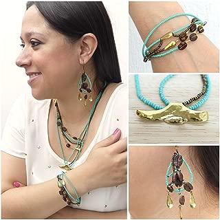 Guatemalan Coffee Bean Necklace Bracelet and Earrings Handmade Jewelry Set for Women Bohemian Jewelry - I'nah Vitalis