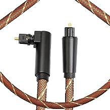 Optical Audio Cable,90 Degree Digital Optical Cable Male to Male Toslink Audio Cable 360 Degree Free-Rotating Plug Nylon B...