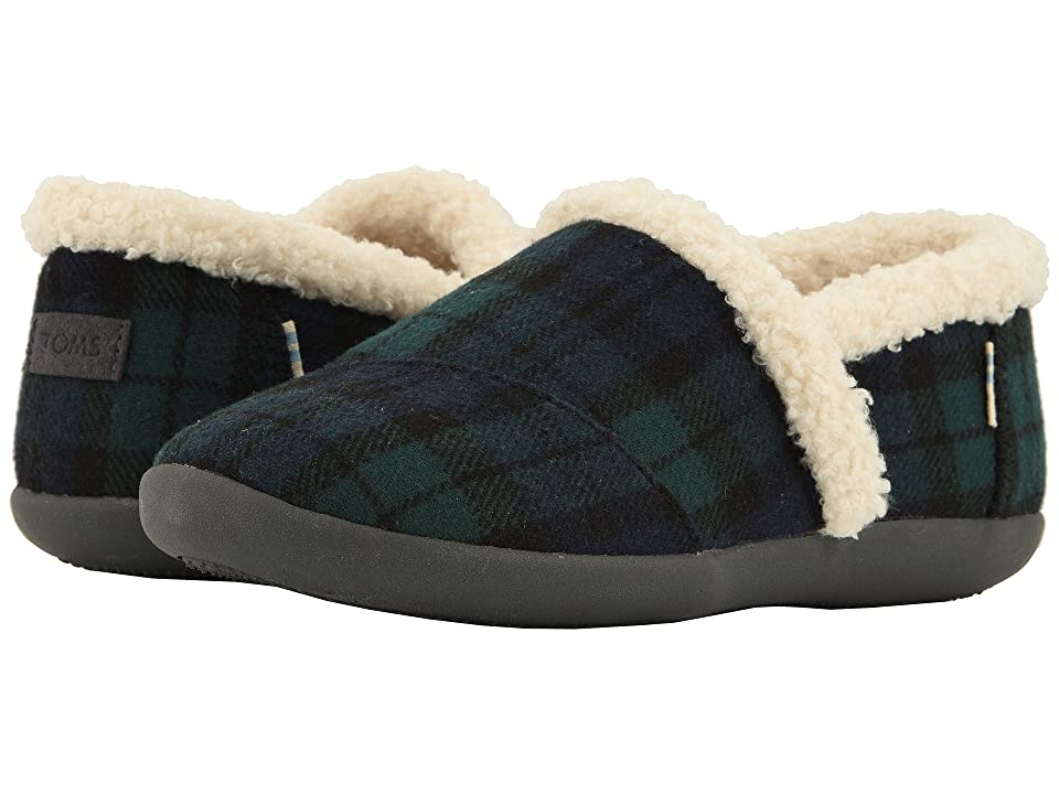 TOMS Kids House Slipper (Little Kid/Big Kid) (Spruce Plaid Felt) Kids Shoes