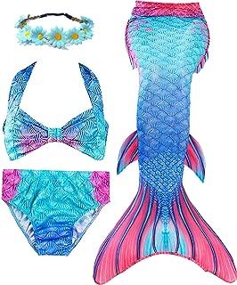 iGeeKid 3 Pcs Girls Swimsuit Mermaid for Swimming Princess Mermaid Costume Bikini Set for 3-12Y