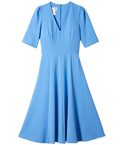 Donna Morgan V-Neck Fit and Flare Crepe Dress (Blue Bonnet) Women