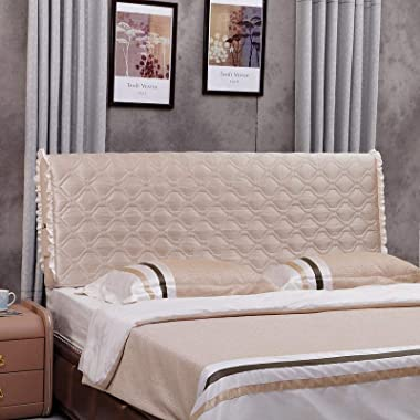 Stretch Bed Headboard Slipcovers Solid Color Head Covers Bedside Beige