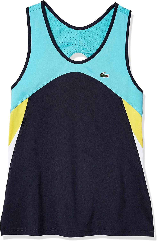 Lacoste Womens Sport Sleeveless Colorblock Tennis Dress