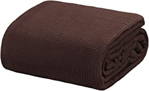 "Crover All Season Waffle Premium Thermal Blanket Queen Size 90""x90"" Durable Soft Cozy Breathable Weave Design 100% Cotton, Brown"