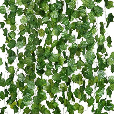 MEHELANY 12 Pack 90.6 Feet Artificial Ivy Garland Silk Fake Vines Greenery Artificial Hanging Plants for Wedding, Wall, Room,