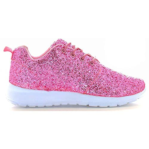 17a67182a361 Womens Ladies Lace Up Glitter Sparkly Trainers Sneakers Gym Pumps Fitness  Size