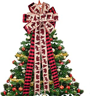 Christmas Tree Topper Bow Large Buffalo Plaid Bow Burlap Red and Black Christmas Wreath Bows Christmas Decorative Bows for...