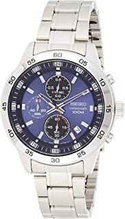 SEIKO Men's Solar Powered Watch, Analog Display and Stainless Steel Strap SKS639P1