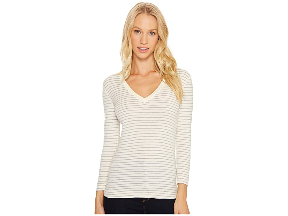 Three Dots Tahoe Stripe 3/4 Sleeve Deep V-Neck (Cream/Granite) Women
