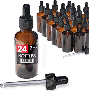2oz Premium Dropper Bottles (24 pack) - Great for Essential Oils - Amber 2 oz Glass - Glass Eye Dropper - Guaranteed Non-Break Shipping