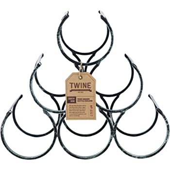 Twine Country Farmhouse Home Decor: Shrine Freestanding Wine Bottle Rack, One Size, Black
