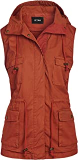 FASHION BOOMY Women's Safari Anorak Vest - Military Hooded Sleeveless Outerwear - Regular and Plus Sizes
