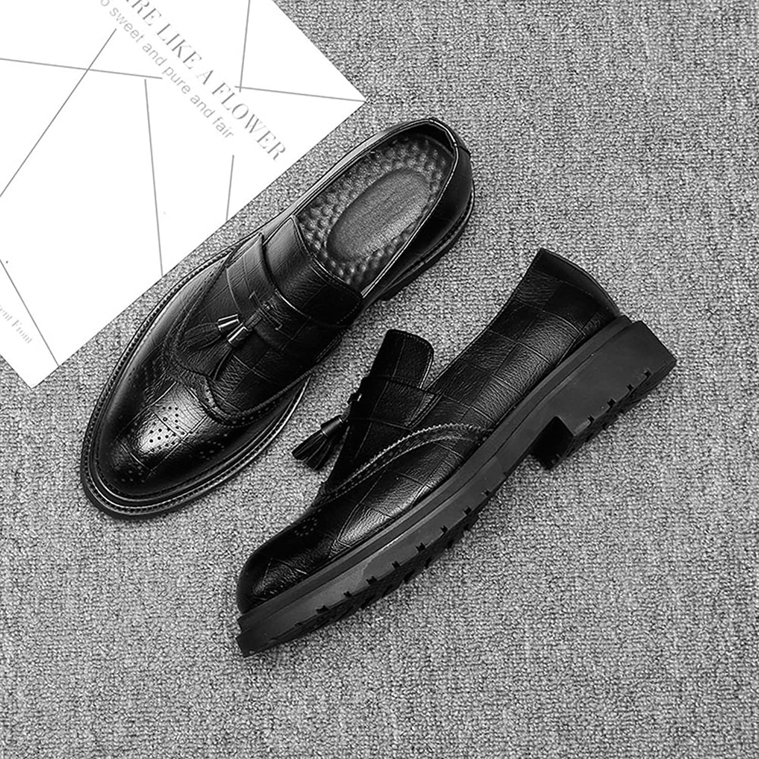 FeiNianJSh Upper Tassel Men's Business Brogue shoes PU Leather Casual shoes Pendant Slip-on Wingtip Decoration Breathable Outsole Oxfords
