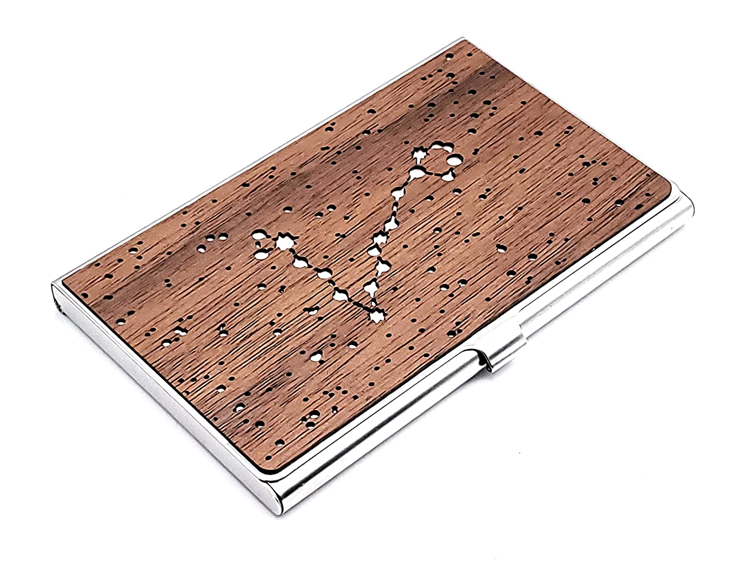 Bombing free shipping Wood Business Card Holder Time sale Sign Case Pisces Zodiac