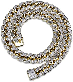 TOPGRILLZ 18mm 14K Gold Plated Full Iced Out Zircon Lab Diamond Big Dog Miami Mens Cuban Chain Link Necklace