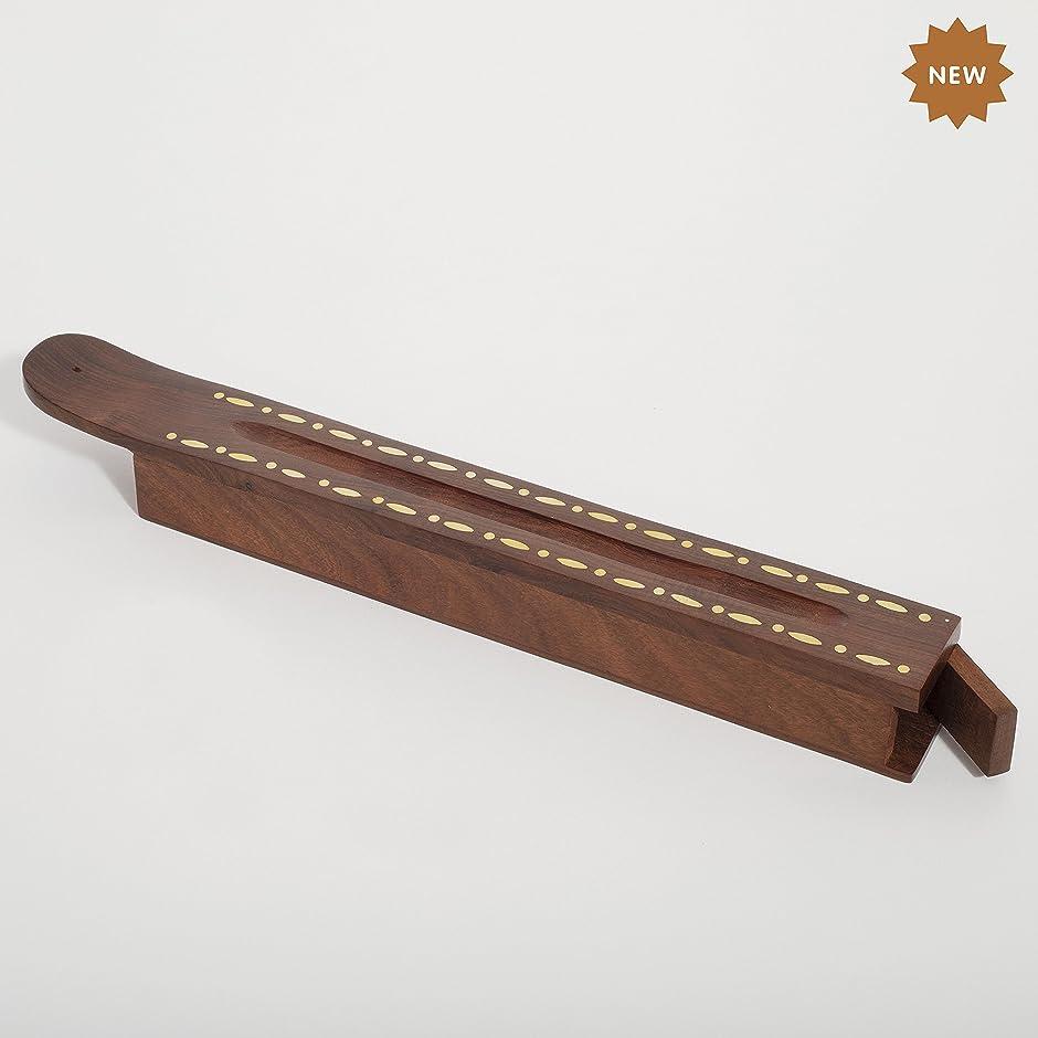 モデレータヒロイック悪用Rusticity 木製お香スタンド お香スティック 収納スロット付き 細めインレー ハンドメイド (12 x 1.4インチ)