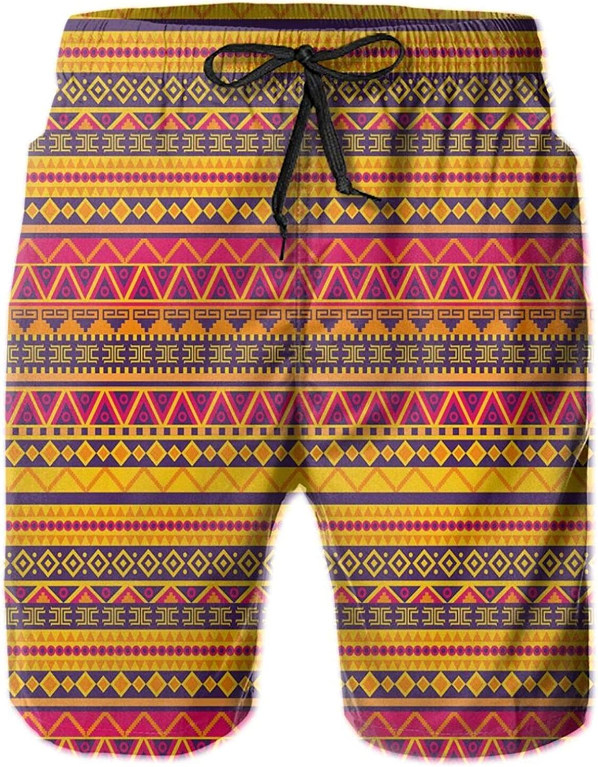 Vector Ethnic Style Tribal Native American Inspired Image with Geometric Borders Mens Swim Shorts Casual Workout Short Pants Drawstring Beach Shorts,XXL