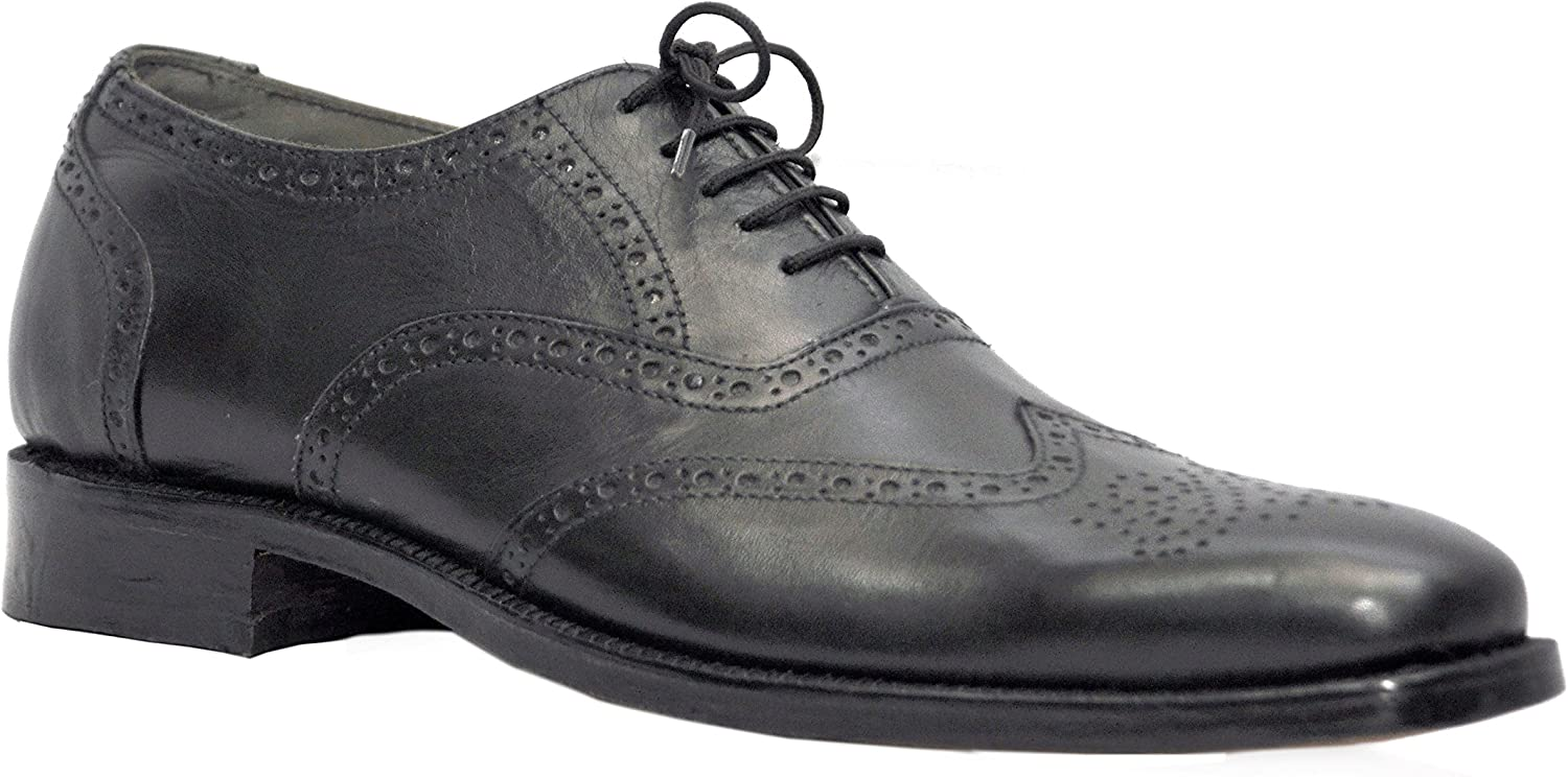 Johny Weber Handmade Black Leather Brook Style Oxford Dress shoes shoes with Goodyear Welted Construction