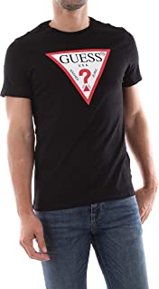 GUESS Men's Crew Neck Small Sleeve Original Logo T-Shirt, Black (Noir De Jais), Large