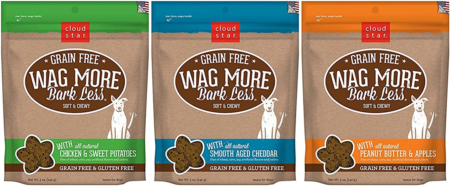 Cloud Star Wag More Bark Less Grain Free Soft & Chewy Dog Treats 3 Flavor Variety Bundle  (1) Wag More Bark Less Grain Free Soft & Chewy Peanut Butter & Apples, (1) Wag More Bark Grain Free Soft & Chewy Smooth Aged Cheddar, and (1) Wag More Bark Less Grai