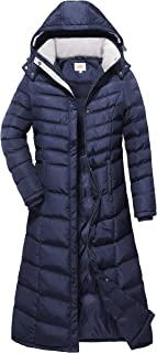 a4e7a563eb438 ELORA Women s Full Length Winter Fleece Lined Plus Size Maxi Puffer Coat