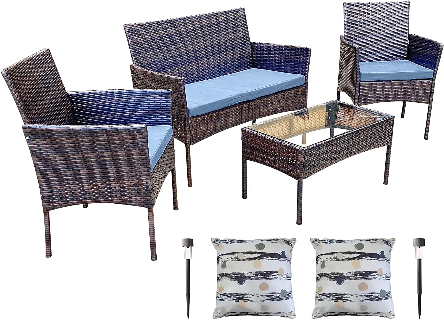 11 Piece Outdoor Furniture Patio Set Seating El Paso Deluxe Mall Table Cushion - C