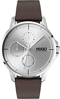 Hugo Boss Men'S Silver White Dial Brown Leather Watch - 1530023
