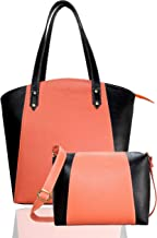 Fargo Motley PU Leather Women's & Girl's Shoulder Tote Handbag & Cross Body Side Sling Bag Combo (Peach,Black_FGO-082)