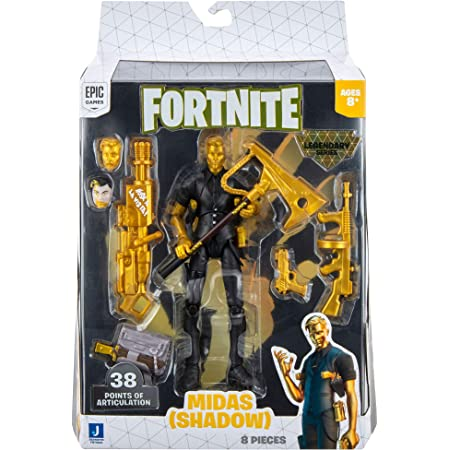 Fortnite Legendary Series Midas, 6-inch Highly Detailed Figure with Harvesting Tool, Weapons, Back Bling, and Interchangeable Faces. Other Styles Include Midas, Dark Voyager, and More.