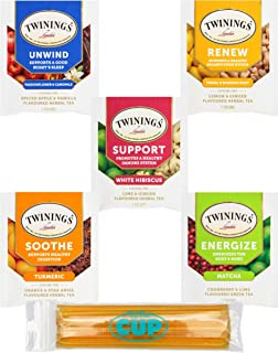 Twinings Wellness Hot Tea Variety Pack 60 Count, 5 Flavors with By The Cup Honey Sticks
