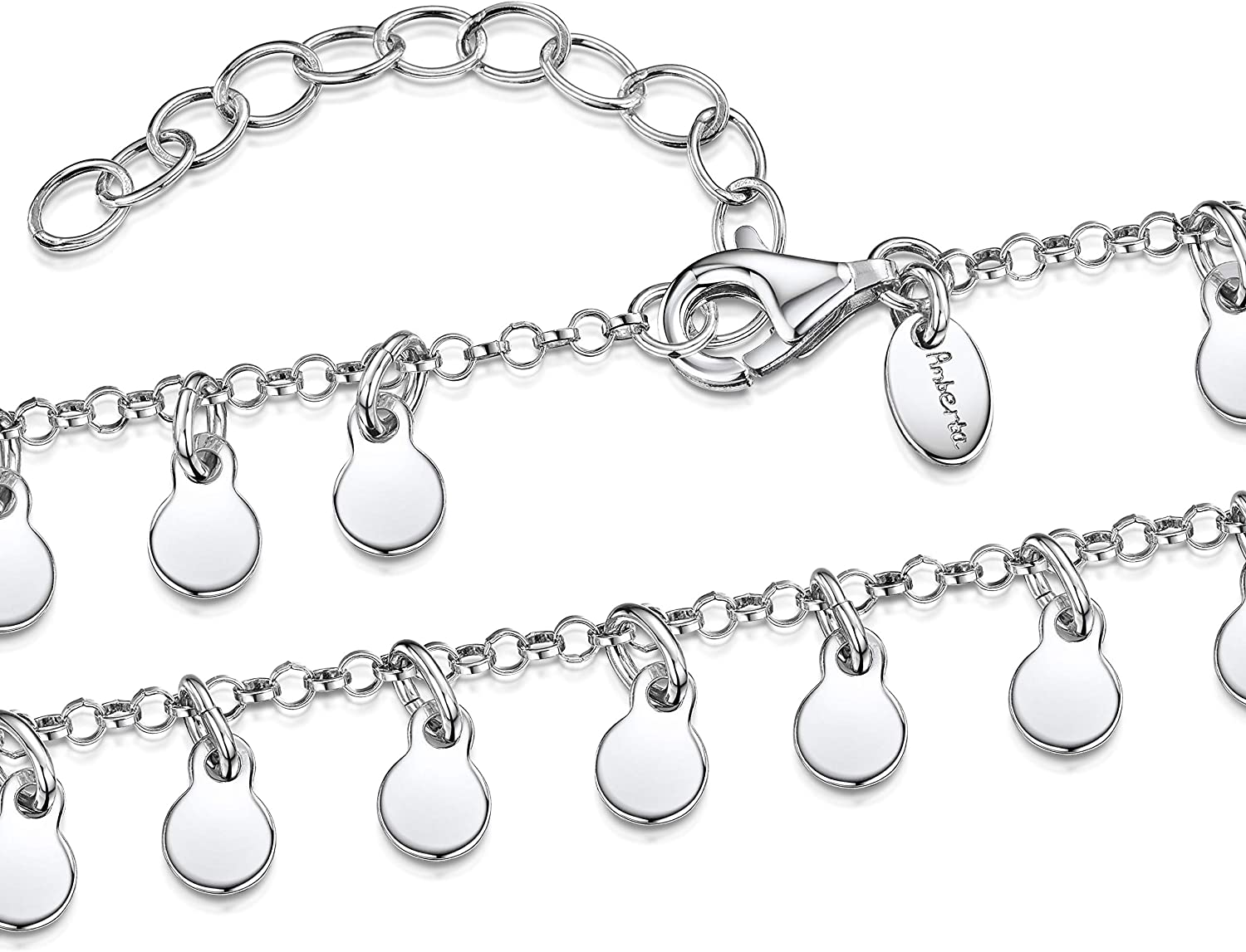 """Amberta 925 Sterling Silver Adjustable Anklet - Chain for Women - Leg Ankle Bracelet - Various Types - 9"""" to 10"""" inch - Flexible Fit Rolo Belcher Chain Anklet With Coins"""