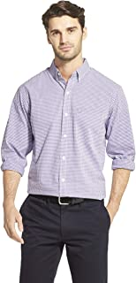 Men's Slim Fit Button Down Long Sleeve Stretch Performance Gingham Shirt