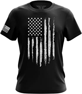 American Flag Military Army Mens Tee - Made in USA T-Shirt 100% Cotton