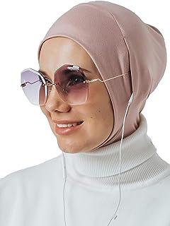 حجاب فوري لسماعات الرأس والنظارات، وشاح رأس رياضي، جاهز لارتداء إكسسوارات الإسلامية للنساء زهري فاتح قياس واحد