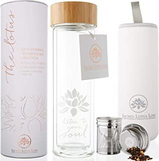 The Lotus Glass Tea Tumbler. Tea Infuser Bottle & Strainer for Loose Leaf, Herbal, Green Tea, Coffee or Fruit Water Infusions. 450ml/15oz Keeps Drinks Hot or Cold for 45 min. Bamboo Lid +Travel Sleeve