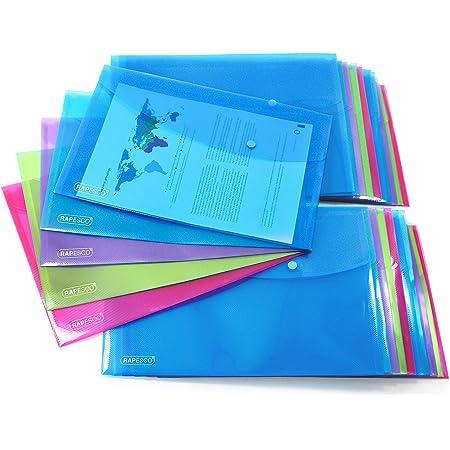 Rapesco 1494 Pochettes Porte-document A4+ - Lot de 20 - Couleurs Assorties