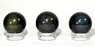 19mm Black/Rainbow Obsidian Sphere Natural Multicolor Sparkling Crystal Decor Ball Polished Mineral Specimen from Mexico - 1PC