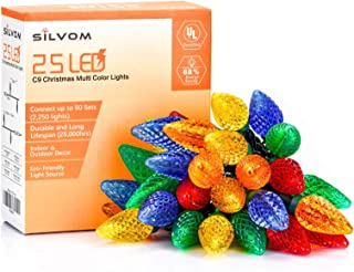 Silvom Multicolor Christmas Lights, 16ft 25 LED C9 Christmas String Lights, 120V UL Listed Indoor & Outdoor String Lights for Halloween, Christmas Tree, Wedding, Party, Patio, Holiday, Home Decoration