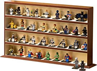 JackCubeDesign Minifigures Display Storage Stand Case Leather Toy Figures Organizer Cabinet(4 Shelves, Brown) – :MK437B