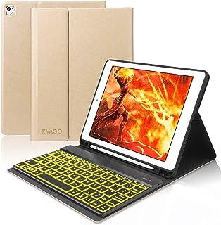 KVAGO iPad 9.7 ケース キーボード Apple Pencil収納 ワイヤレス Bluetooth キーボード 7色バックライト 着脱式 オートスリープ 多角度調整 iPad 2018 第6世代/2017 第5世代/Pro 9.7/Air/Air2 通用 手帳型 ビジネスカバー ゴールド