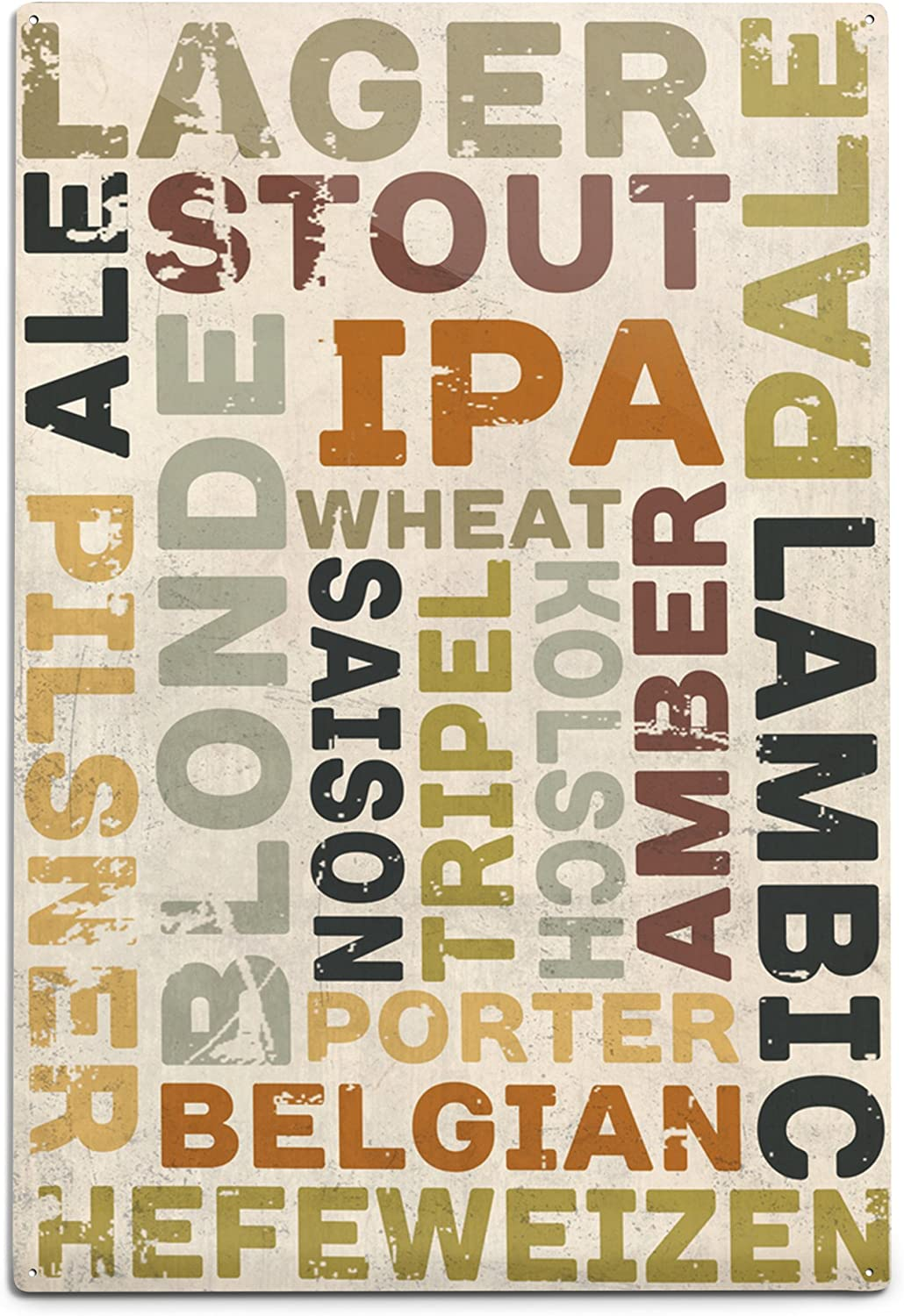 Lantern Press Beer Typography Types Aluminum 12x18 of Max 66% OFF Wal depot